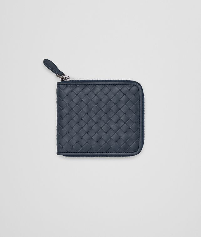 BOTTEGA VENETA ZIP AROUND WALLET IN DENIM INTRECCIATO VN Bi-fold Wallet Man fp