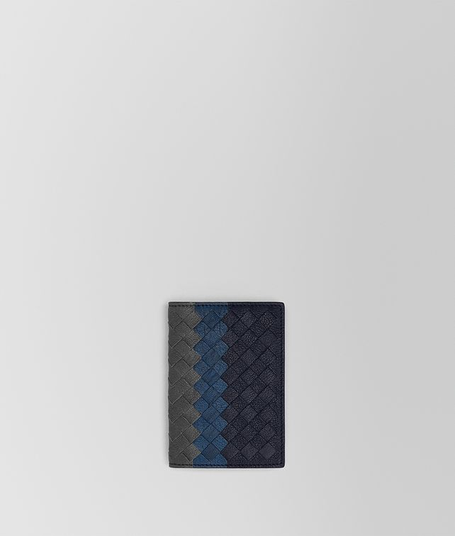 BOTTEGA VENETA CARD CASE IN NEW DARK NAVY DENIM ARDOISE INTRECCIATO LAMB CLUB Card Case or Coin Purse U fp