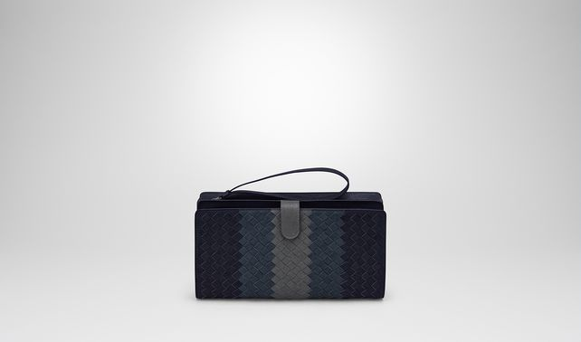 MULTI FUNCTIONAL CASE IN DARK NAVY DENIM ARDOISE INTRECCIATO LAMB CLUB