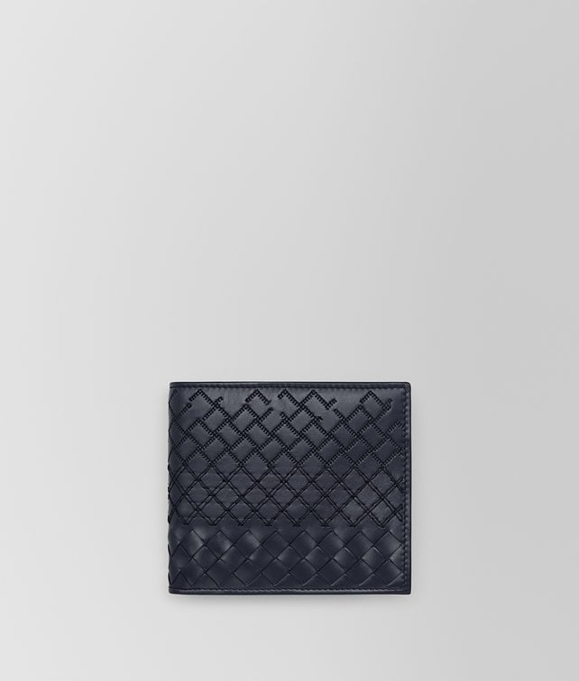 BOTTEGA VENETA BI-FOLD WALLET IN PRUSSE INTRECCIO AURELIO CALF, EMBROIDERY DETAILS Bi-fold Wallet [*** pickupInStoreShippingNotGuaranteed_info ***] fp