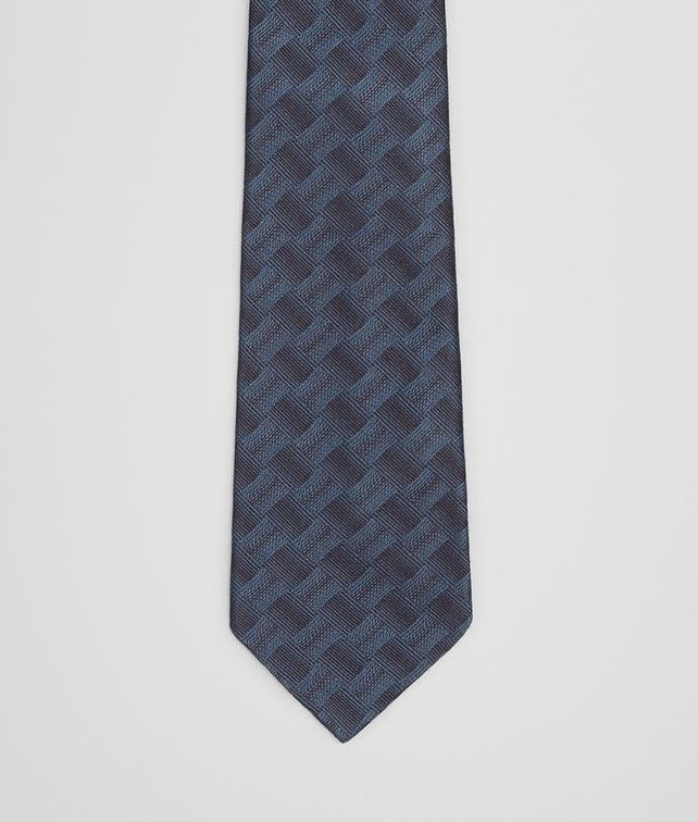 BOTTEGA VENETA TIE IN ROYAL BLACK SILK Tie U fp