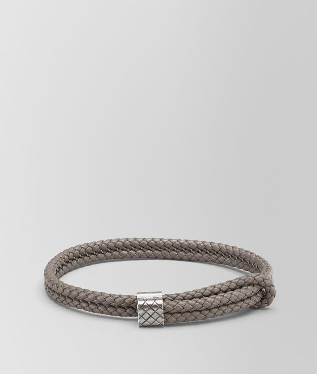 BOTTEGA VENETA BRACELET IN STEEL INTRECCIATO NAPPA AND SILVER Bracelet Man fp