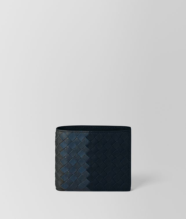 BOTTEGA VENETA BI-FOLD WALLET WITH COIN PURSE IN NEW DARK NAVY DENIM ARDOISE INTRECCIATO LAMB CLUB Bi-fold Wallet U fp