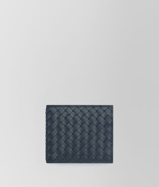 BI-FOLD WALLET WITH COIN PURSE IN DENIM INTRECCIATO VN