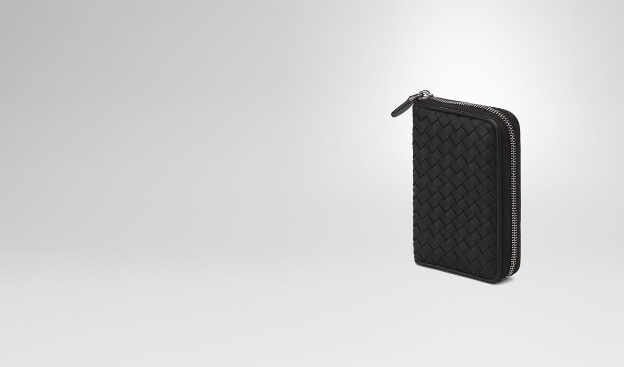 zip around wallet in nero intrecciato nappa landing