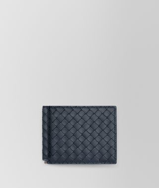 BI-FOLD WALLET WITH MONEY CLIP IN DENIM INTRECCIATO VN