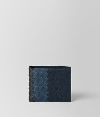 BI-FOLD WALLET IN DARK NAVY DENIM ARDOISE INTRECCIATO LAMB CLUB