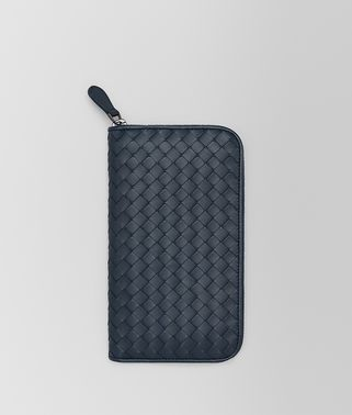 DENIM INTRECCIATO ZIP-AROUND WALLET