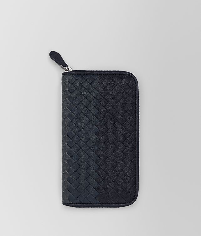 BOTTEGA VENETA ZIP AROUND WALLET IN NEW DARK NAVY DENIM ARDOISE INTRECCIATO LAMB CLUB Zip Around Wallet Man fp