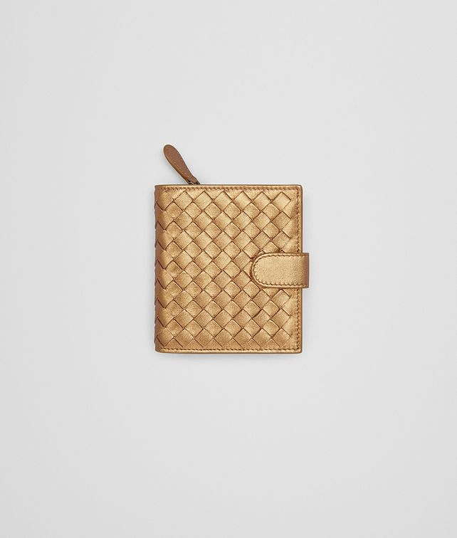 BOTTEGA VENETA MINI WALLET IN DARK GOLD INTRECCIATO GROS GRAIN Mini Wallet Woman fp