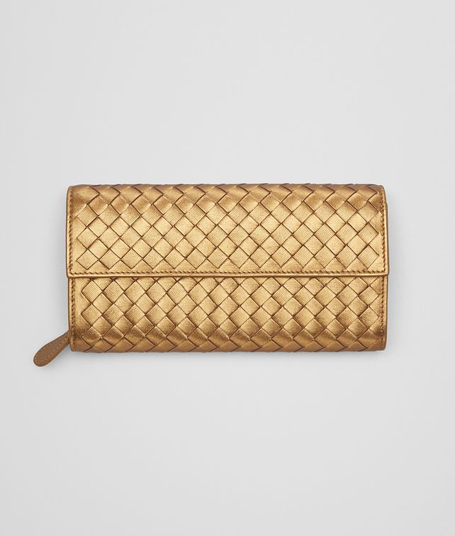 BOTTEGA VENETA CONTINENTAL WALLET IN DARK GOLD INTRECCIATO GROS GRAIN Continental Wallet Woman fp
