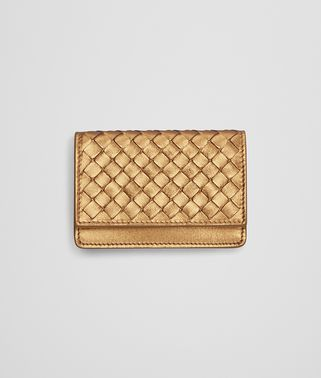 CARD CASE IN DARK GOLD INTRECCIATO GROS GRAIN