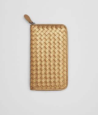 ZIP-AROUND WALLET IN DARK GOLD INTRECCIATO GROS GRAIN