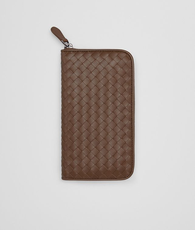 BOTTEGA VENETA ZIP AROUND WALLET IN DARK CALVADOS INTRECCIATO VN Zip Around Wallet Man fp