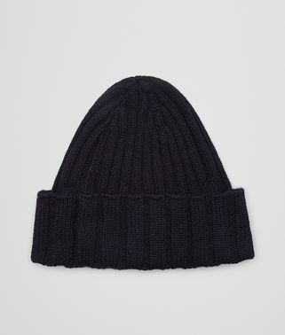 HAT IN NAVY RIBBED CASHMERE