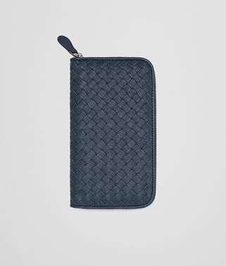 DENIM INTRECCIATO CALF ZIP-AROUND WALLET