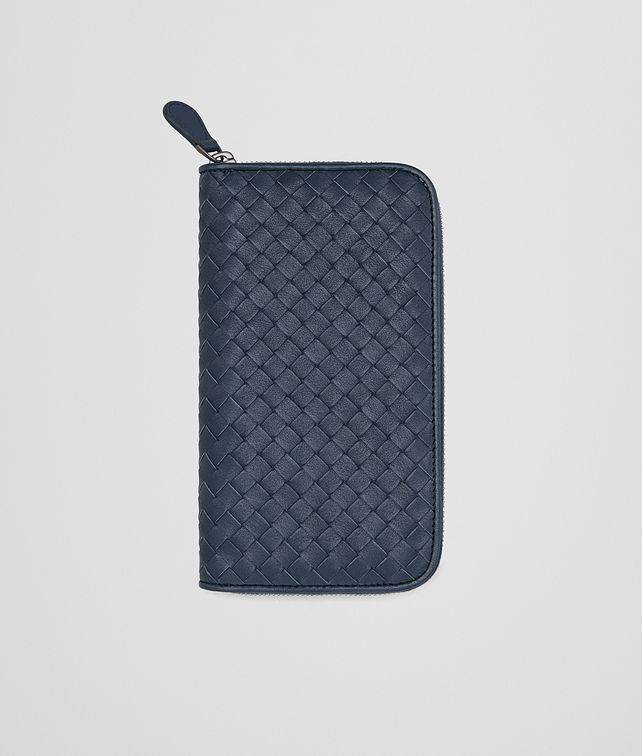 BOTTEGA VENETA ZIP AROUND WALLET IN DENIM KRIM INTRECCIATO CALF Zip Around Wallet U fp