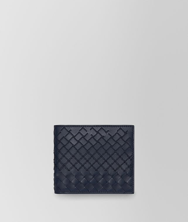 BOTTEGA VENETA BI-FOLD WALLET WITH COIN PURSE IN PRUSSE INTRECCIO AURELIO CALF, EMBROIDERY DETAILS Bi-fold Wallet Man fp