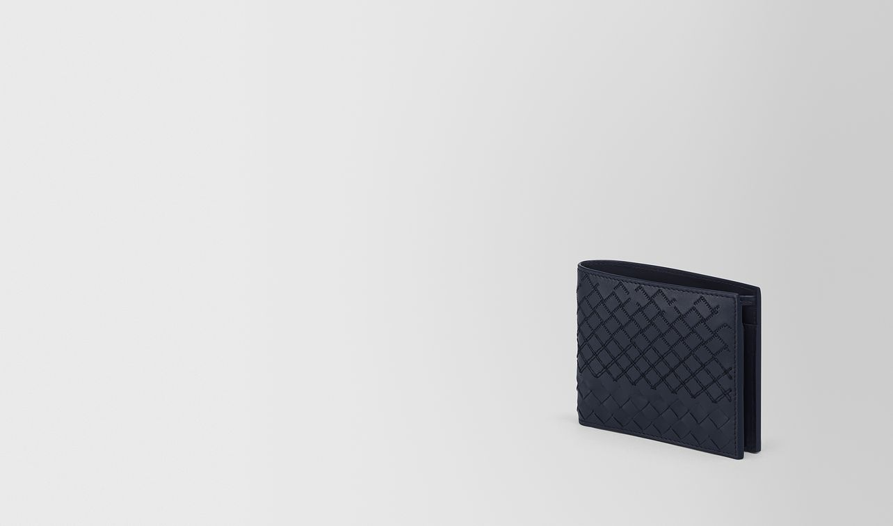 bi-fold wallet with coin purse in prusse intreccio aurelio calf, embroidery details landing