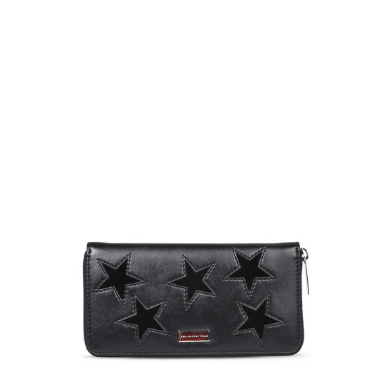 Black Glitter Stars Zip Wallet