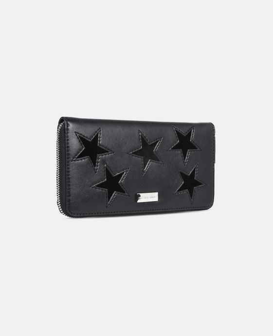 Black Glitter Stars Zipper Wallet
