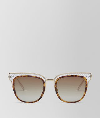 SUNGLASSES IN SHINY CLASSIC HAVANA ACETATE AND TRANSPARENT LIGHT YELLOW METAL, GRADIENT BROWN LENS