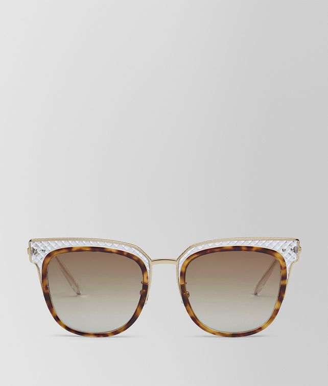 BOTTEGA VENETA SUNGLASSES IN SHINY CLASSIC HAVANA ACETATE AND TRANSPARENT LIGHT YELLOW METAL, GRADIENT BROWN LENS Sunglasses [*** pickupInStoreShipping_info ***] fp