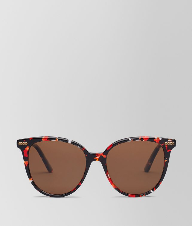 BOTTEGA VENETA SUNGLASSES IN SHINY BLACK ACETATE RED HAVANA, SOLID BROWN LENS Sunglasses Woman fp