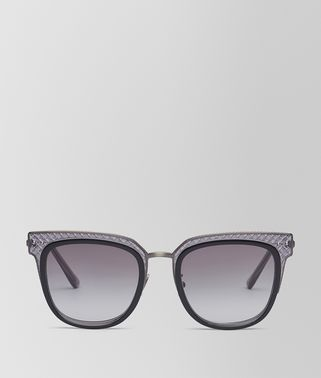 SUNGLASSES IN SHINY BLACK ACETATE AND GREY METAL, GRADIENT GREY LENS