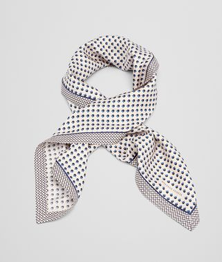 FOULARD IN CREAM BLUE SILK
