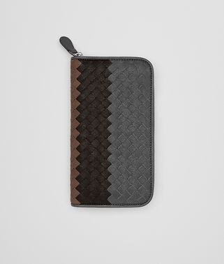 ZIP AROUND WALLET IN ARDOISE ESPRESSO DARK CALVADOS INTRECCIATO LAMB CLUB