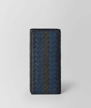 CONTINENTAL WALLET IN DARK NAVY DENIM ARDOISE INTRECCIATO LAMB CLUB
