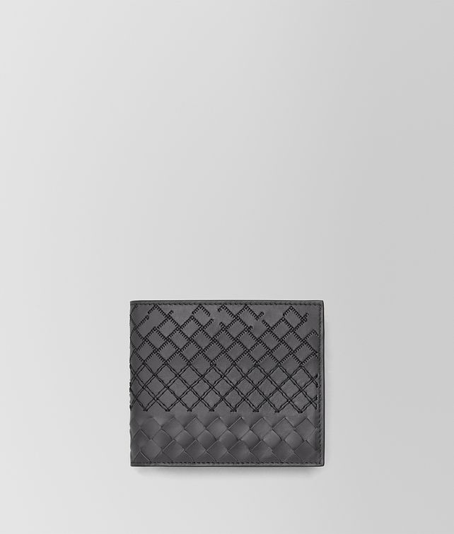 BOTTEGA VENETA BI-FOLD WALLET WITH COIN PURSE IN ARDOISE INTRECCIO AURELIO CALF, EMBROIDERY DETAILS Bi-fold Wallet Man fp