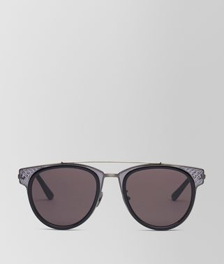 SUNGLASSES IN SHINY BLACK ACETATE AND GREY METAL, SOLID GREY LENS