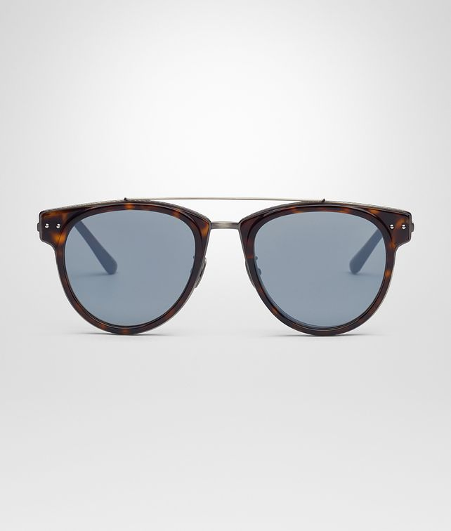 BOTTEGA VENETA SUNGLASSES IN SHINY DARK HAVANA ACETATE AND METAL , MIRROR SILVER LENS Sunglasses E fp