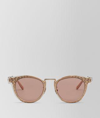 occhiali da sole IN metallo Rose Gold E acetato Shiny Transparent Honey, Lenti Rust
