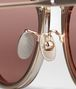 BOTTEGA VENETA SUNGLASSES IN ROSE GOLD METAL AND SHINY TRANSPARENT HONEY ACETATE, SOLID RUST LENS Sunglasses E dp