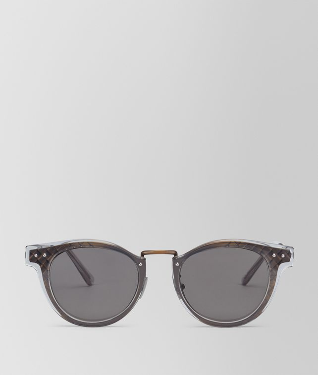 BOTTEGA VENETA SUNGLASSES IN ANTIQUE BRASS METAL AND SHINY TRANSPARENT GREY ACETATE, SOLID GREY LENS Sunglasses E fp