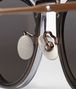 BOTTEGA VENETA SUNGLASSES IN ANTIQUE BRASS METAL AND SHINY TRANSPARENT GREY ACETATE, SOLID GREY LENS Sunglasses E dp