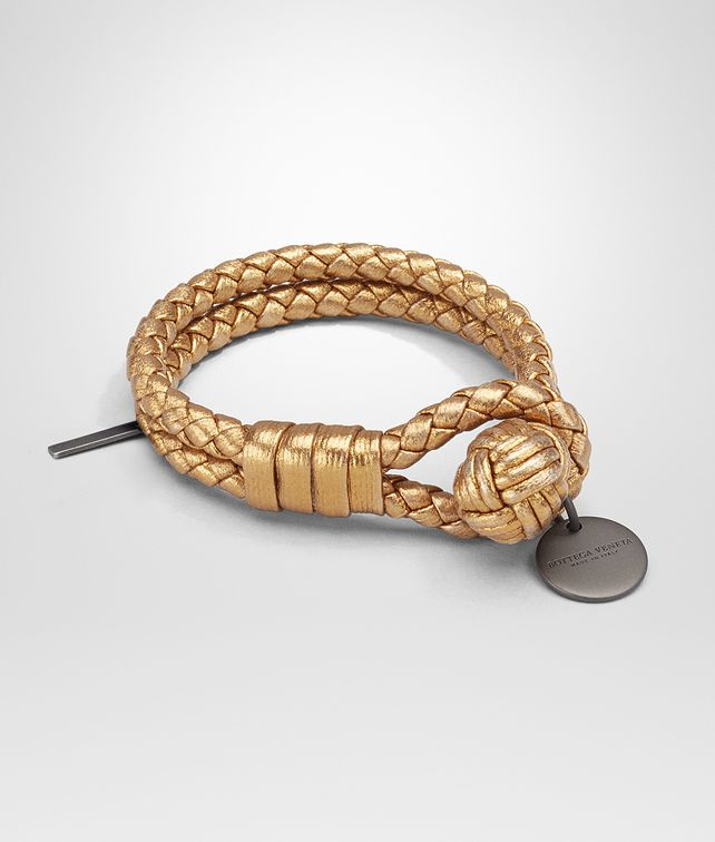 BOTTEGA VENETA BRACELET IN DARK GOLD INTRECCIATO GROS GRAIN Keyring or Bracelets E fp