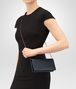 BOTTEGA VENETA CONTINENTAL WALLET IN DENIM INTRECCIATO NAPPA LEATHER CHAIN WALLET Woman ap