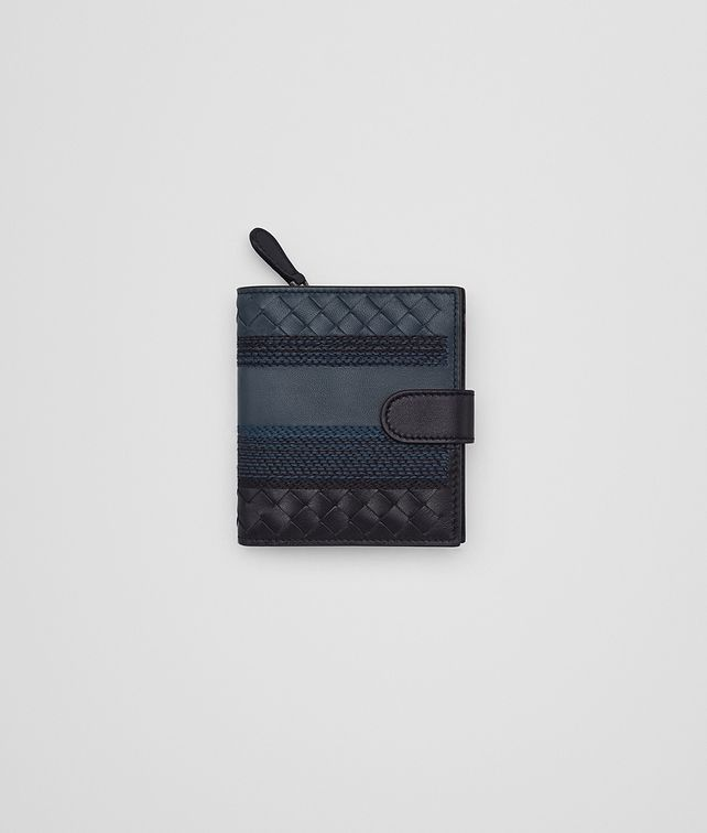 BOTTEGA VENETA MINI WALLET IN DENIM TOURMALINE EMBROIDERED NAPPA LEATHER, INTRECCIATO DETAILS Mini Wallet or Coin Purse D fp