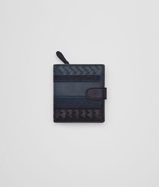 MINI WALLET IN DENIM TOURMALINE EMBROIDERED NAPPA LEATHER, INTRECCIATO DETAILS