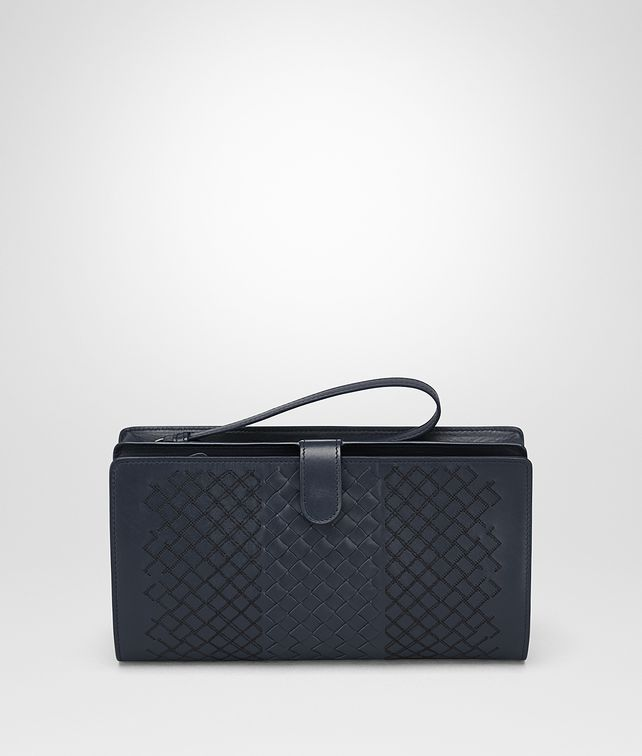 BOTTEGA VENETA MULTI FUNCTIONAL CASE IN PRUSSE INTRECCIO AURELIO CALF, EMBROIDERY DETAILS Small bag U fp