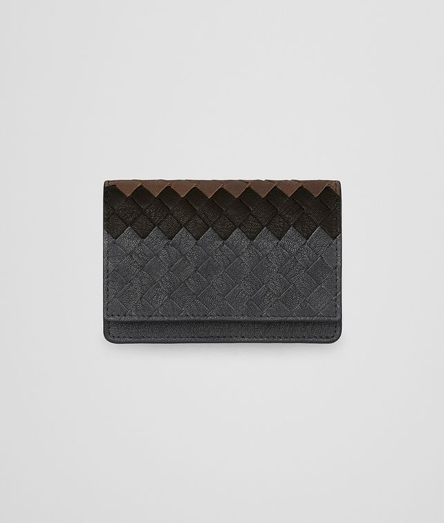 BOTTEGA VENETA CARD CASE IN ARDOISE ESPRESSO CALVADOS INTRECCIATO LAMB CLUB Card Case or Coin Purse E fp