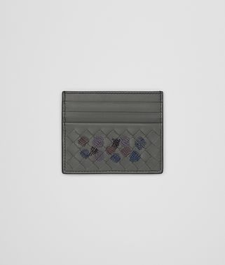 CARD CASE IN LIGHT GREY EMBROIDERED NAPPA LEATHER, INTRECCIATO DETAILS