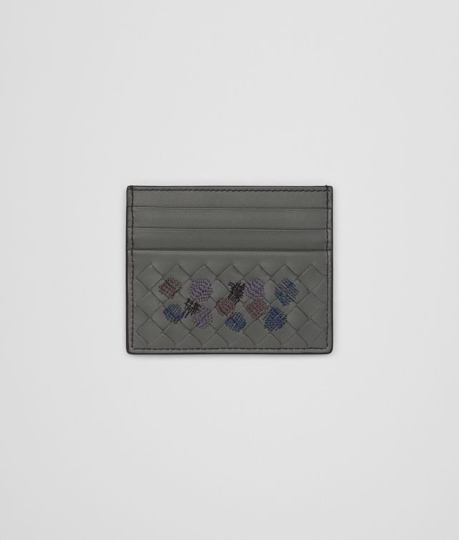 BOTTEGA VENETA CARD CASE IN NEW LIGHT GREY EMBROIDERED NAPPA, INTRECCIATO DETAILS Card Case or Coin Purse Man fp