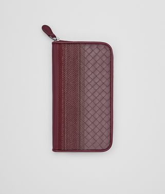 ZIP AROUND WALLET IN GLICINE BAROLO EMBROIDERED NAPPA, INTRECCIATO DETAILS