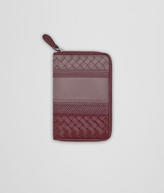 ZIP-AROUND WALLET IN GLICINE BAROLO EMBROIDERED NAPPA LEATHER, INTRECCIATO DETAILS
