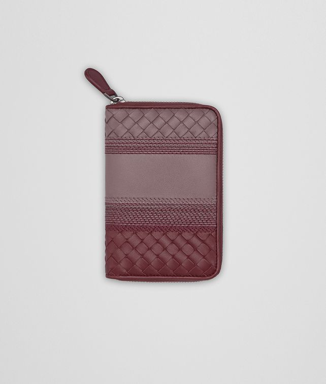 BOTTEGA VENETA ZIP-AROUND WALLET IN GLICINE BAROLO EMBROIDERED NAPPA LEATHER, INTRECCIATO DETAILS Zip Around Wallet Woman fp